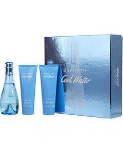 Davidoff Cool Water Women 3 Piece Eau De Toilette 100ML Body Lotion 75ML Shower Gel 75ML